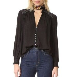 Free People Canyon Rose Black Lace Button Down Top